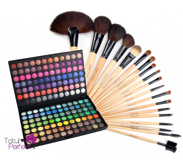 Kit Trusa profesionala 168 de farduri make-up si Set Pensule machiaj 18 Bucati